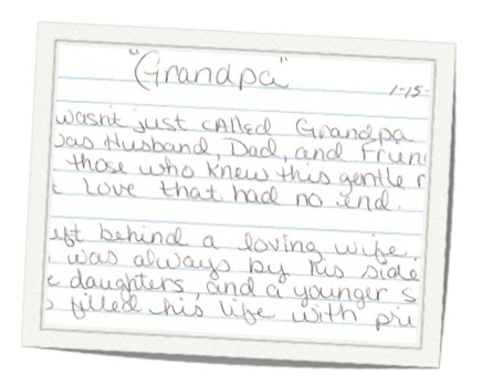 index card of Grandpa poem