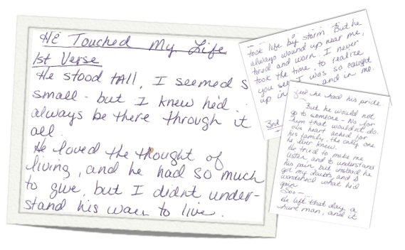 He touched my life poem on postcards